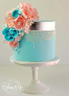 Light/ turquoise Birthday Cake w/flower and lace accent