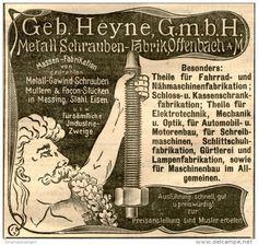 Original-Werbung/ Anzeige 1905 :  METALL SCHRAUBEN-FABRIK HEYNE OFFENBACH - ca. 100 x 90 mm