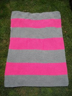 Hand Knit,  Baby Blanket, Hot Pink & Grey Stripes