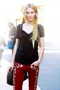 Model Emily Baker New York Fashion Week Street Style - Spring 2013 Street Style - ELLE