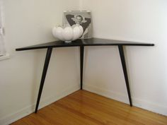 SALE-Retro Modern Black Corner Desk or Table (Los Angeles)