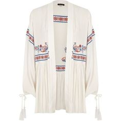 River Island White embroidered tassel cuff kimono ($90) ❤ liked on Polyvore featuring intimates, robes, kimonos, tops, white, women, embroidered kimono, long sleeve kimono, embroidered robes and open front kimono