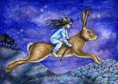 """'The Dream' by Katy Jones. Mixed media illustration of a little girl riding on a giant hare. """"Go by moonlight Owl-soft and hare-swift. Journey far and travel deep. Canvas Prints, Art Prints, Book Illustration, Hare, Moonlight, Storytelling, Little Girls, Artwork, Magick"""