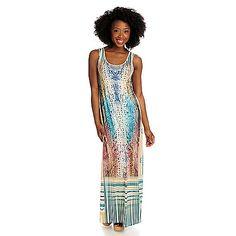 b93b70d60d9 715-950 - One World Micro Jersey Sleeveless Embellished Printed Maxi Dress  Resort Wear,