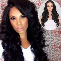 long black big curve curly wigs middle parting for sale Cheap Lace Front Wigs, Cheap Wigs, Weave Hairstyles, Cool Hairstyles, How To Wear A Wig, Wigs Online, Wigs For Sale, Hair Shows, Blonde Wig