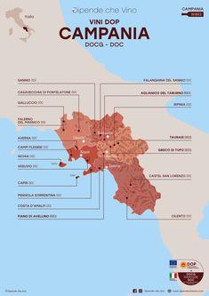 Tutti i vini DOP (DOCG e DOC) della Campania, localizzati sulla carta regionale.  Al link le informazioni sulle tipologie e sugli uvaggi.  Italian Wine Region Campania Wine Drinks, Cocktail Drinks, Beverages, Cocktails, Wine Pics, Chianti Wine, Italian Wine, Fine Wine, Wine Recipes