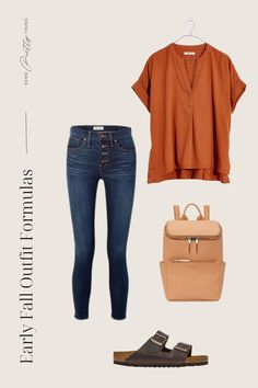 A darling and simple inspiration for early fall outfits for women in 2021. Classic Outfits For Women, Late Summer Outfits, Fall Trends, Feminine, Clothes For Women, Pretty, Collection, Color, Simple