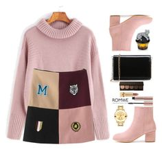 """Pink tiger"" by gabygirafe ❤ liked on Polyvore featuring Yves Saint Laurent, House of Sillage, Movado, Pink, romwe and felinefashion"