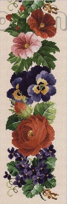 Flower Border 5 of 10 Funny Cross Stitch Patterns, Cross Stitch Borders, Cross Stitch Flowers, Cross Stitch Charts, Cross Stitch Designs, Cross Stitching, Cross Stitch Embroidery, Embroidery Patterns, Hand Embroidery