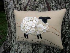 Primitive Ireland Sheep Embroidery Door Hanger by WickedlyCreative, $30.00