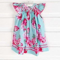 Smocked Floral Dress Turquoise & Pink