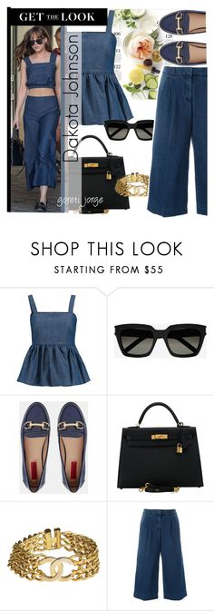 """Dakota Johnson"" by goreti ❤ liked on Polyvore featuring Martha Stewart, CO, Yves Saint Laurent, London Rebel, Hermès, Chanel, MICHAEL Michael Kors, GetTheLook and CelebrityStyle"