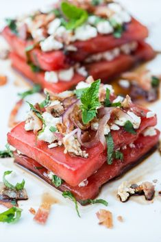 Savoury Watermelon Salad with Honey, Feta, and Bacon