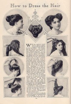 Vintage Hairstyles May 1908 The Delineator - From the collection of Jessica H. Jaeger How to Dress the Hair In Several New Ways Baddie Hairstyles, Fancy Hairstyles, Vintage Hairstyles, Drawing Hairstyles, School Hairstyles, Natural Hairstyles, Summer Hairstyles, Straight Hairstyles, Wedding Hairstyles