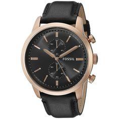 Fossil Men's FS5097 'Townsman' Chronograph Black Leather Watch