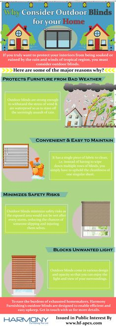 If you truly want to protect your interiors from being soaked or ruined by the rain and winds of tropical region, you must consider outdoor blinds. Check out the infographic to know why!