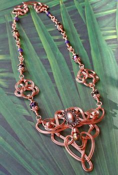 Copper Wire-wrapped Celtic Styled Necklace With Amethyst  |  Artist:  Karen (khines52) of MysticMetalDesigns on etsy