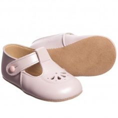 Early Days Girls Pink Pearl Leather Pre-Walker Shoes at Childrensalon.com
