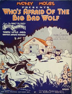 1933, Three Little Pigs, Walt Disney, Who's Afraid of the Big Bad Wolf, Vintage Sheet Music, Antique illustration, Big Bad Wolf, Pigs, Brick