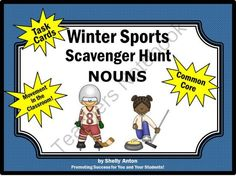 Winter Olympics Common Core Nouns Task Cards Scavenger Hunt from Promoting Success on TeachersNotebook.com -  (12 pages)  - Winter Olympics: Here are 30 tasks cards with sentences related to the Winter Olympics. Students will read each sentence and identify the noun(s). A student response form and answer key are also provided.  There are so many uses for these Valentine's