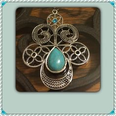 """Silver Tibetan & Turquoise Necklace NEW Lovely 3""""x2"""" Pendant on an 18"""" chain with a 2"""" extender. NEW IN PACKAGE Jewelry Necklaces"""