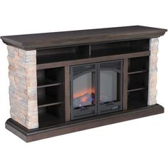 Love the stacked stone look!! The Bryce Canyon media mantle fireplace TV stand by Classic Flame brings the natural beauty of wood and stone to your entertaining space.  Solid wood and veneer case construction is accented by dry-stack faux stone side panels.  The the firebox heats up to 400 square feet when you need it and adds ambience when you don't.
