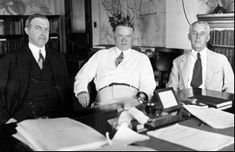 Assistants William McCracken (left) & Walter Drake (right) with Secretary Hoover (center) American Presidents, Us Presidents, Hoover Building, Walter Drake, Herbert Hoover, Economic Analysis, Current President, Federal Agencies, Electronic Media