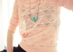 Collier double triangle monochrome vert d'eau $31,07 sold by Emilie Lily Turblin on Subtill.com