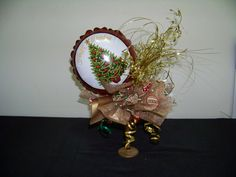 Christmas table decoration. Mainly gold with touches of red and green. #christmas #holiday #fun #music www.astylishcelebration.com.au