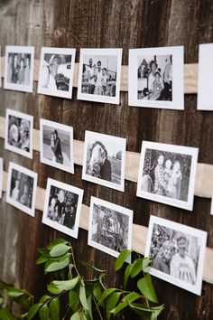 This escort card display (also shown above) is the epitome of personalization. The bride and groom selected their favorite photos of family and friends and used them—in black and white for a cohesive vibe—to lead everyone to the proper table. Flower Company, Table Cards, Creative Photos, Photo Displays, Card Displays, Boho Bride, Our Wedding, Wedding Ideas, Wedding Stuff