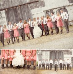 Rustic barn in background with bridesmaids in pink dresses and cowboy boots, groomsmen in suspenders and neckties