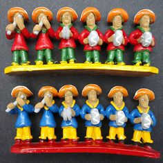 Mariachi Band Art Pottery Clay Novelty Figurines, Hand Painted