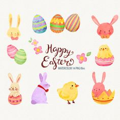 Watercolor Easter Easter clipart Easter Bunny Easter eggs