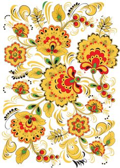 Folk Khokhloma painting from Russia. Floral pattern.