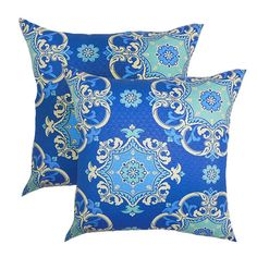 Set of two indoor/outdoor pillows with a medallion motif.   Product: Set of 2 pillowsConstruction Material: Cotto...