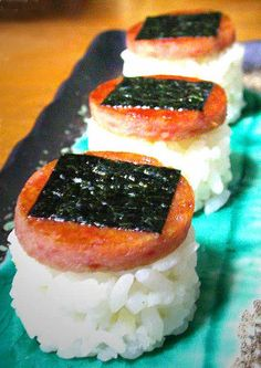 Ingredients: 4 cups uncooked Japanese sushi rice 4 cups water 5 sheets sushi-nori (seaweed) 1 can SPAM, SPAM LOW SODIUM, or. Spam Recipes, Fun Easy Recipes, Cooking Recipes, Cooking Tips, Back Home, Sushi, Food Porn, Food And Drink, Recipes