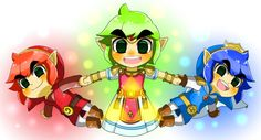 The Legend of Zelda: Tri Force Heroes /  Red Link, Green Link, and Blue Link/ 「トライフォース3銃士」/「ミズホ」のイラスト [pixiv] [01]