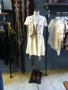 Vintage floral vest, cute cotton dress, and ankle cowboy boots. Store Mannequins, Ankle Cowboy Boots, Vintage Floral, Cotton Dresses, Cute, Kawaii