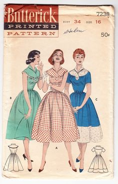 Vintage 1955 Butterick 7238 UNCUT Sewing Pattern Misses Tab Yoke Dress Banded Gathered Skirt Size 16 Bust 34