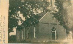 Friends Church North Lewisburg by Champaign Co Library. I attended this church as a child. The religious organization is gone, but the building has been preserved and is being used as the community library