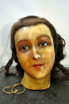 Wax Mannequin Head, woman, 1900s