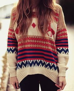 Loose striped deer knit sweater