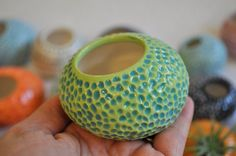 Pottery Pebble Pot- Air Plant Planter- Carved Ceramic Pod for your Tabletop- Colorful Salt Cellar