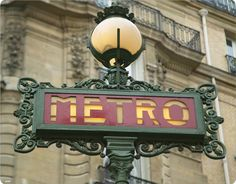 Paris Metro Sign and Street Lamp