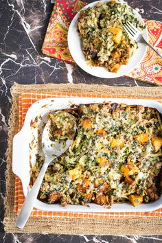This hearty potluck casserole is loaded with seasoned ground turkey, butternut squash, spinach, and hashbrown potatoes. It all comes together with a creamy parmesan sauce. Sure to be a crowd favorite!