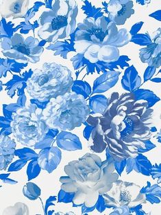 Designers Guild blue and white floral wallpaper