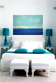 Blue accents of aqua and purple taken from the Mediterranean Sea & white bedding of Greek villas
