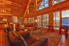 Appalachian Sunrise  | Cabin Rentals of Georgia - Spacious Family Area Opens Up to Covered Porch with Breathtaking Panoramic Views