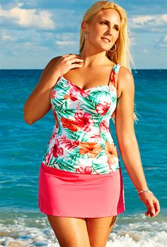 Swim Sexy Pink Hibiscus Plus Size Twist Front Slit Skirtini $66  #swimsuitsforall, #BeachBelle and #pinyourparadise