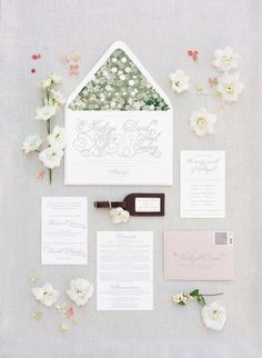 Floral envelope liners: http://www.stylemepretty.com/2015/06/12/traditional-romantic-berkshire-wedding/   Photography: Heather Waraksa - http://heatherwaraksa.com/